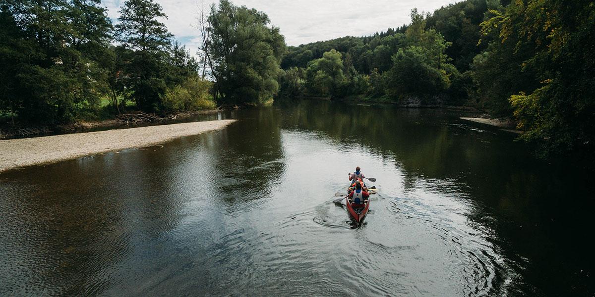 Kanu fahren auf der Schwäbische Alb