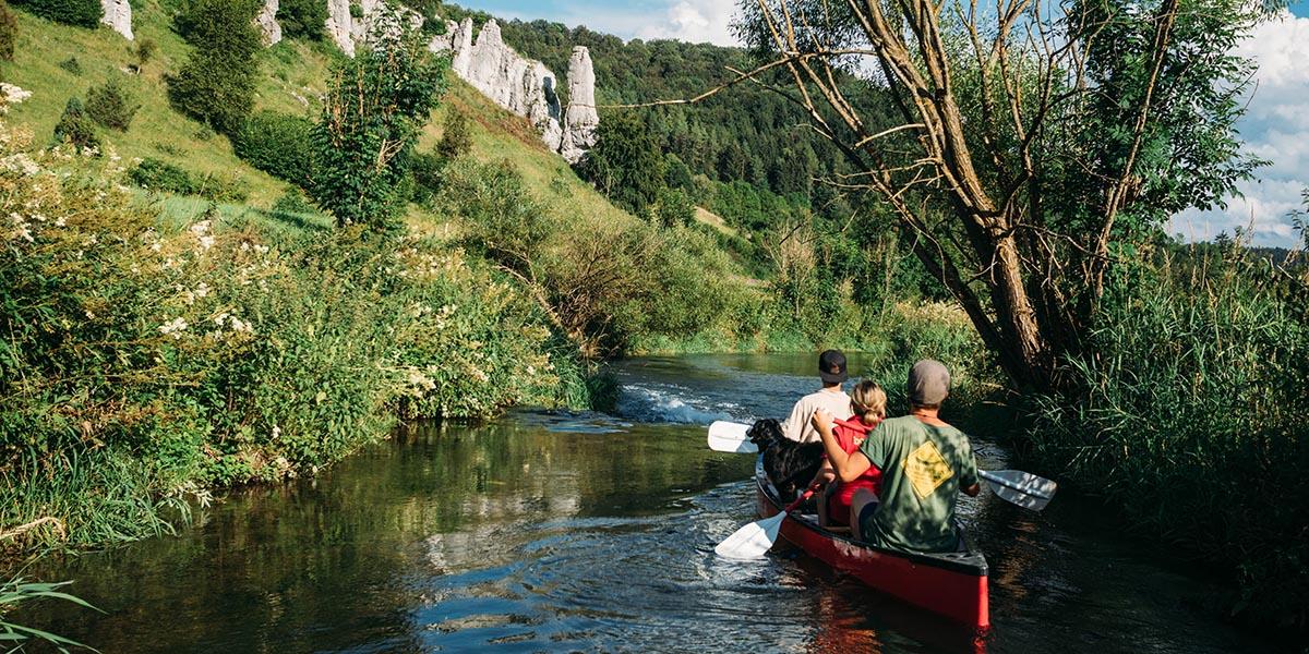 Eine Fahrt in Kanu, Kajak, Kanadier auf der grossen Lauter